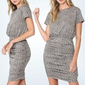 NWT Fate by LFD Ruched Leopard Print Dress